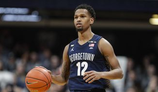 Georgetown guard Terrell Allen (12) plays against Butler in the second half of an NCAA college basketball game in Indianapolis, Saturday, Feb. 15, 2020. Georgetown defeated Butler 73.66. (AP Photo/Michael Conroy) ** FILE **