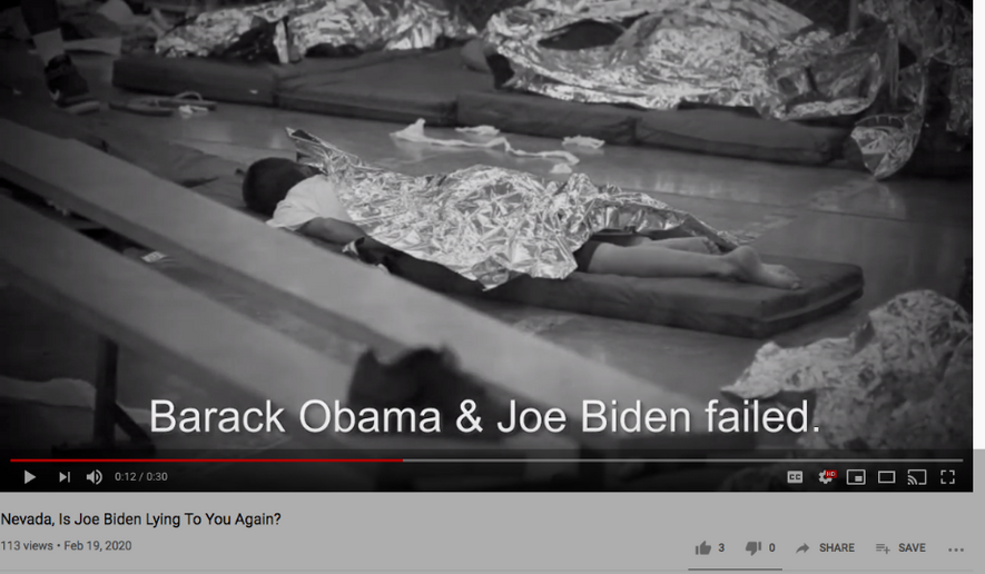 Screen capture from an anti-Joe Biden campaign ad by the pro-Trump group Committee to Defend the President. This ad, airing in Nevada in February ahead of the Democratic caucuses there, seeks to put the former vice president on the defensive among Spanish-speaking voters for the Obama/Biden administration's handling of immigration, particularly as regarded the detention of underage illegal immigrants. (YouTube: https://www.youtube.com/watch?v=Hvl-Ej7JKIA)