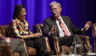 Former National Security Advisers Susan Rice, left, and John Bolton take part in a discussion on national security at Vanderbilt University Wednesday, Feb. 19, 2020, in Nashville, Tenn. (AP Photo/Mark Humphrey)
