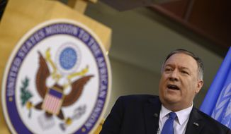 U.S. Secretary of State Mike Pompeo speaks during a press conference at the United Nations Economic Commission for Africa, in Addis Ababa, Ethiopia, on Wednesday, Feb. 19, 2020. (Andrew Caballero-Reynolds/Pool via AP)