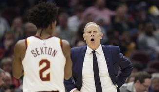 Cleveland Cavaliers head coach John Beilein gives instructions to players in the second half of an NBA basketball game against the New York Knicks, Monday, Feb. 3, 2020, in Cleveland. New York won 139-134 in overtime. (AP Photo/Tony Dejak) **FILE**