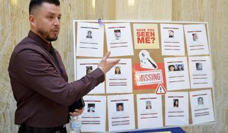 John Rivera, a special projects supervisor of the New Mexico Department of Public Safety, speaks about cold cases of missing people on Wednesday, Feb. 19, 2020, at the New Mexico Statehouse in Santa Fe, N.M. State lawmakers are racing through the final days of a 30-day Legislative session, which ends Thursday. (AP Photo/Russell Contreras)