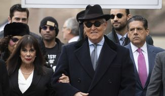 Roger Stone accompanied by his wife Nydia Stone, left, arrives for his sentencing at U.S. District Court in Washington, Thursday, Feb. 20, 2020. Stone, a staunch ally of President Donald Trump, faces sentencing Thursday on his convictions for witness tampering and lying to Congress. (AP Photo/Manuel Balce Ceneta) ** FILE **