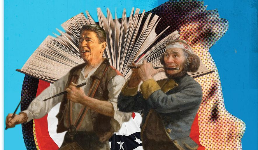 Illustration on teaching American history by Linas Garsys/The Washington Times
