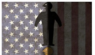 Illustration on the leftist bias of history months by Alexander Hunter/The Washington Times