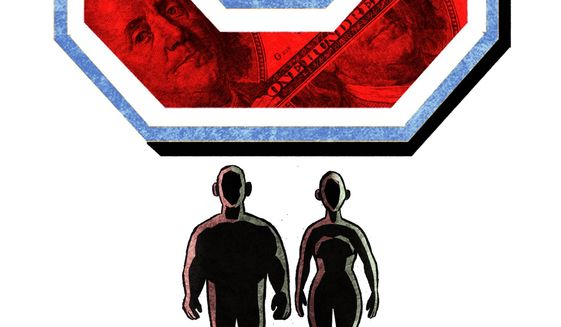 Illustration on the cost of free college by Alexander Hunter/The Washington Times