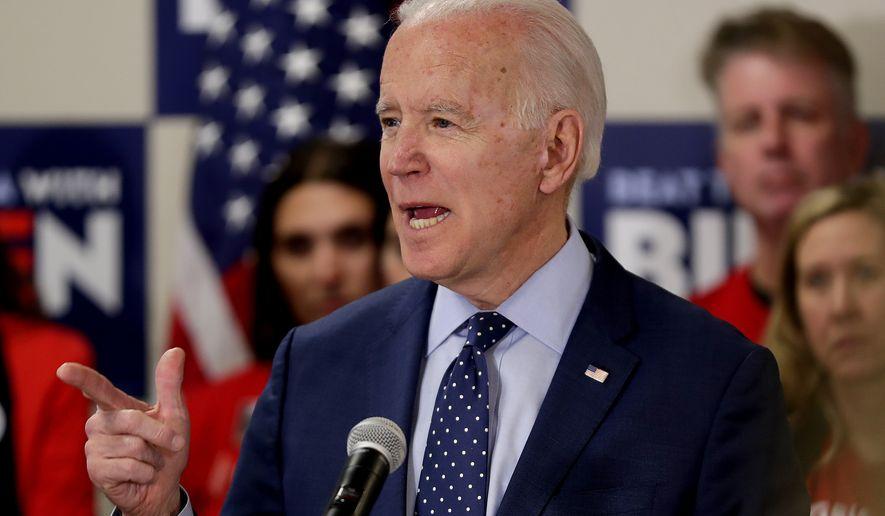 Democratic presidential candidate former Vice President Joe Biden speaks at a campaign stop, Thursday, Feb. 20, 2020, in Las Vegas. (AP Photo/Matt York)