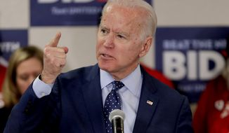 Democratic presidential candidate former Vice President Joe Biden speaks about gun violence at a campaign stop, Thursday, Feb. 20, 2020, in Las Vegas. (AP Photo/Matt York)