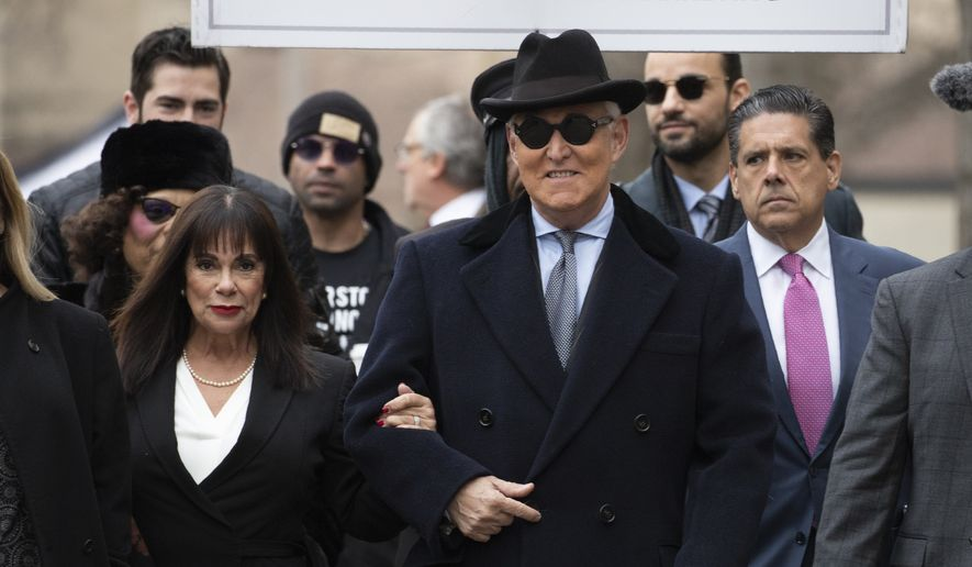 Roger Stone accompanied by his wife Nydia Stone, left, arrives for his sentencing at U.S. District Court in Washington, Thursday, Feb. 20, 2020. (AP Photo/Manuel Balce Ceneta) ** FILE **