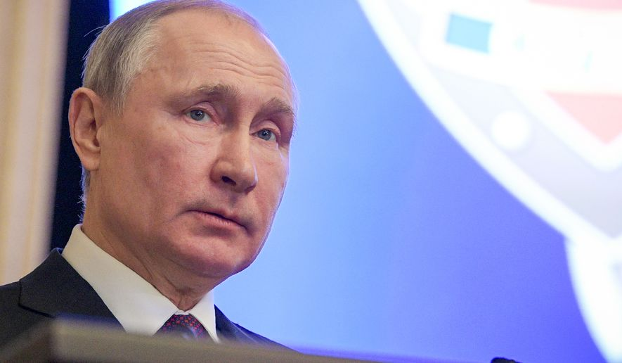 Russian President Vladimir Putin addresses during his meeting in the Federal Security Service (FSB) headquarters in Moscow, Russia, Thursday, Feb. 20, 2020. (Alexei Druzhinin, Sputnik, Kremlin Pool Photo via AP)