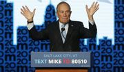 Democratic presidential candidate and former New York City Mayor Mike Bloomberg gestures as he speaks during campaign event, Thursday, Feb. 20, 2020, in Salt Lake City.  (AP Photo/Rick Bowmer)