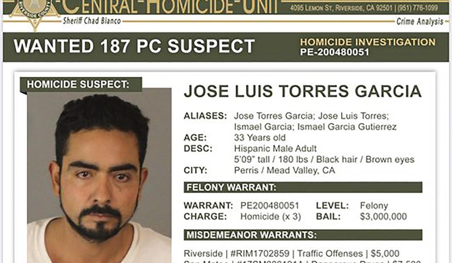 """This wanted poster provided by the Riverside County Sheriff's Department shows Jose Luis Torres Garcia. Authorities are seeking Garcia who is considered """"armed and very dangerous"""" and is believed to have killed three men and left their bodies in a Southern California cemetery, the Riverside County sheriff said Thursday, Feb. 20, 2020. Sheriff Chad Bianco said at a news conference there is a felony warrant out for the arrest of Garcia, with $3 million bail. Bianco did not say how the men were killed. (Riverside County Sheriff's Department via AP)"""