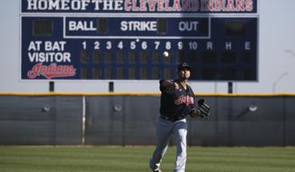 Cleveland Indians starting pitcher Carlos Carrasco warms up during spring training baseball workouts for pitchers and catchers Thursday, Feb. 13, 2020, in Avondale, Ariz. (AP Photo/Ross D. Franklin)