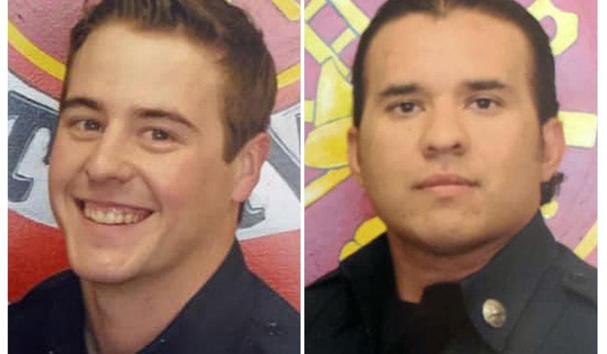 These undated photos provided by the Porterville, Calif., Fire Department show firefighter Patrick Jones, left, and Capt. Raymond Figueroa. Two 13-year-old boys were arrested Tuesday, Feb. 18, 2020, for allegedly starting a blaze at the Porterville, Calif., Public Library that killed fire Capt. Figueroa, 35. Firefighter Patrick Jones, 25, is still missing,  (Porterville Fire Department via AP)