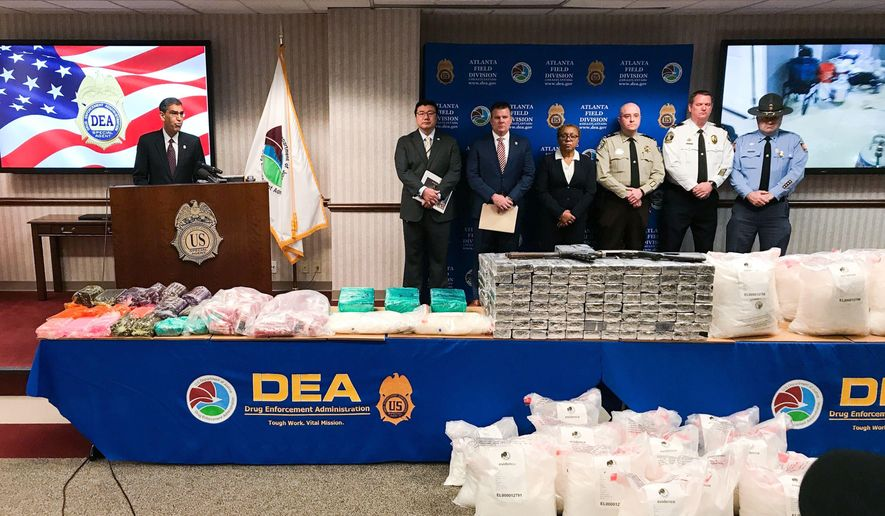 """U.S. Drug Enforcement Administration Acting Administrator Uttam Dhillon announced the launch of Operation Crystal Shield at a news conference in Atlanta on Thursday, Feb. 20, 2020. Federal authorities say they are targeting methamphetamine """"transportation hubs"""" around the country in an effort to block the distribution of the highly addictive drug. (AP Photo/Angie Wang)"""
