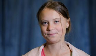 In this Friday, Sept. 20, 2019, file photo, Swedish environmental activist Greta Thunberg attends an interview with The Associated Press before the Climate Strike, at City Hall, in New York. (AP Photo/Eduardo Munoz Alvarez, File)