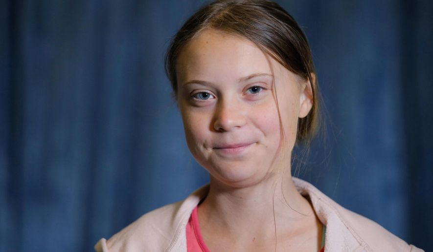 FILE - In this Friday, Sept. 20, 2019 file photo, Swedish environmental activist Greta Thunberg attends an interview with the Associated Press before the Climate Strike, at City Hall, in New York.  The 2019 Right Livelihood Award given to Thunberg said Thursday Feb. 20, 2020, that the 1 million kronor (US dollars 102,566) prize money honor has been used to establish the non-profit Greta Thunberg Foundation, to promote ecological and social sustainability, as well as mental health. (AP Photo/Eduardo Munoz Alvarez, File)