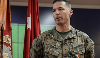 Marine Maj. William Easter received the Navy and Marine Corp Medal — the service's highest noncombat heroism award — on February 14 for saving the life of a drowning pregnant woman in Okinawa, Japan. (Image: U.S Marine Corps, Lance Cpl. Hannah Hall via Marine Corps Times)