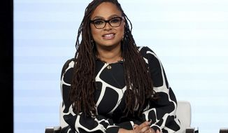 """FILE - In this Thursday, Jan. 16, 2020, file photo, Ava DuVernay speaks at the OWN: Oprah Winfrey Network's """"Cherish the Day"""" series panel during the Discovery Network TCA 2020 Winter Press Tour in Pasadena, Calif. The series, airing at 10 p.m. EST Tuesday, follows a Los Angeles couple's relationship over eight episodes that span five years. Xosha Roquemore and Alano Miller star in the network's first anthology series, created by filmmaker and TV producer DuVernay. (Photo by Willy Sanjuan/Invision/AP)"""