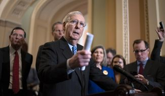 FILE - In this Feb. 11, 2020, file photo, Senate Majority Leader Mitch McConnell, R-Ky., talks to reporters following a GOP strategy meeting at the Capitol in Washington. A political committee linked to Senate Majority Leader Mitch McConnell is funding ads and other campaign materials designed to meddle in North Carolina's Democratic Senate primary, the group acknowledged on Friday. (AP Photo/J. Scott Applewhite, File)