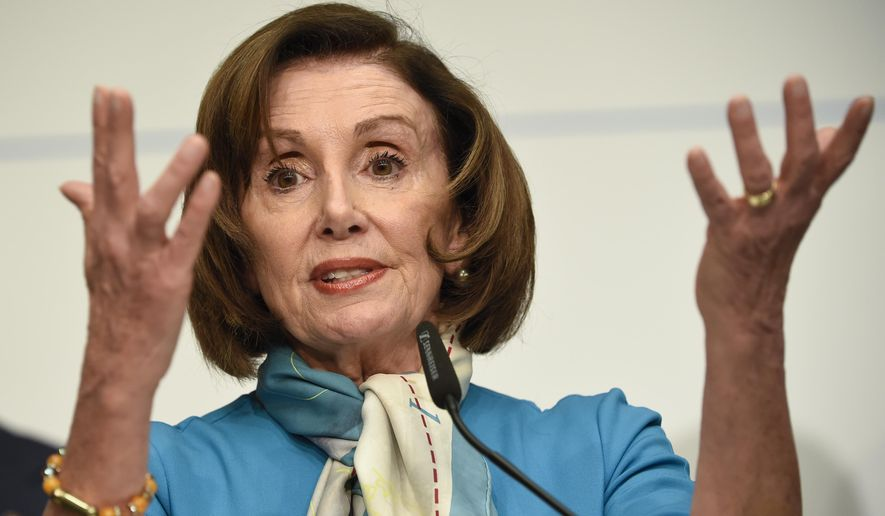 In this Sunday, Feb. 16, 2020 file photo, U.S. Speaker of the House Nancy Pelosi, D-Calif, attends a news conference during the Munich Security Conference in Munich, Germany. AP Photo/Jens Meyer) **FILE**