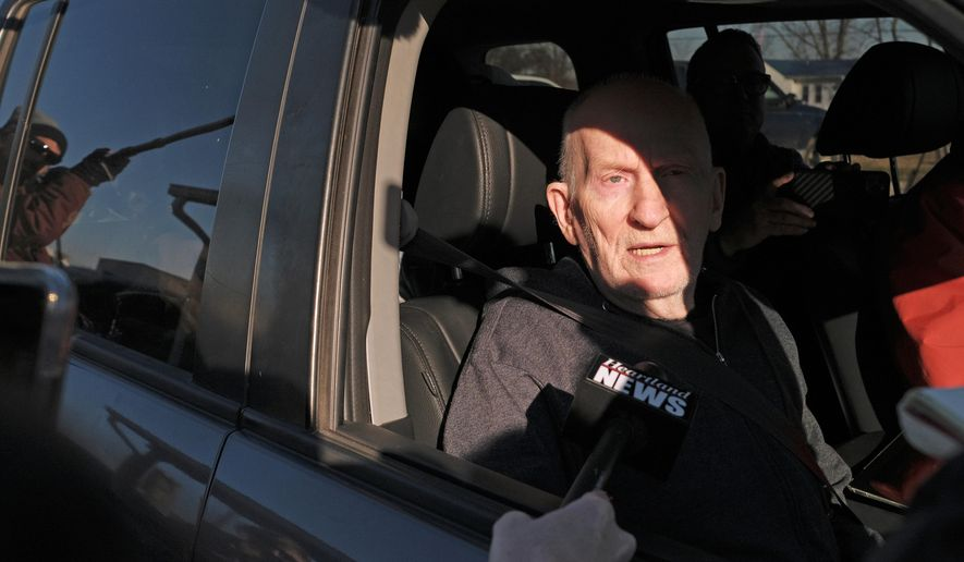 Chester Weger takes questions from the media after being released from the Pickneyville Correctional Center, Friday Feb. 21, 2020, in Pickneyville, Ill. Weger was released from an Illinois prison nearly six decades after he was sentenced to life for the killing of one of three suburban Chicago women whose brutalized bodies were found in a state park. Weger was granted parole in November on his 24th try  (Isaac Smith/Chicago Tribune via AP)