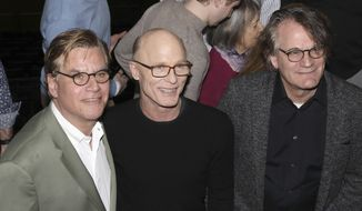 """Aaron Sorkin, from left, Ed Harris and Bartlett Sher participate in a press conference to announce an upcoming performance of """"To Kill a Mockingbird"""" at Madison Square Garden on Wednesday, Feb. 19, 2020, in New York. The performance is scheduled to take place on Feb. 26, 2020.(Photo by Greg Allen/Invision/AP)"""