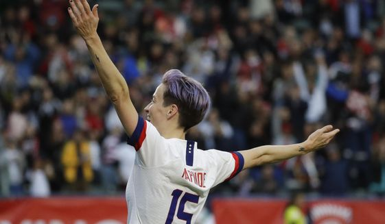 U.S. forward Megan Rapinoe celebrates after scoring against Canada during the second half of a CONCACAF women's Olympic qualifying soccer match Sunday, Feb. 9, 2020, in Carson, Calif. The U.S. won 3-0. (AP Photo/Chris Carlson)  **FILE**