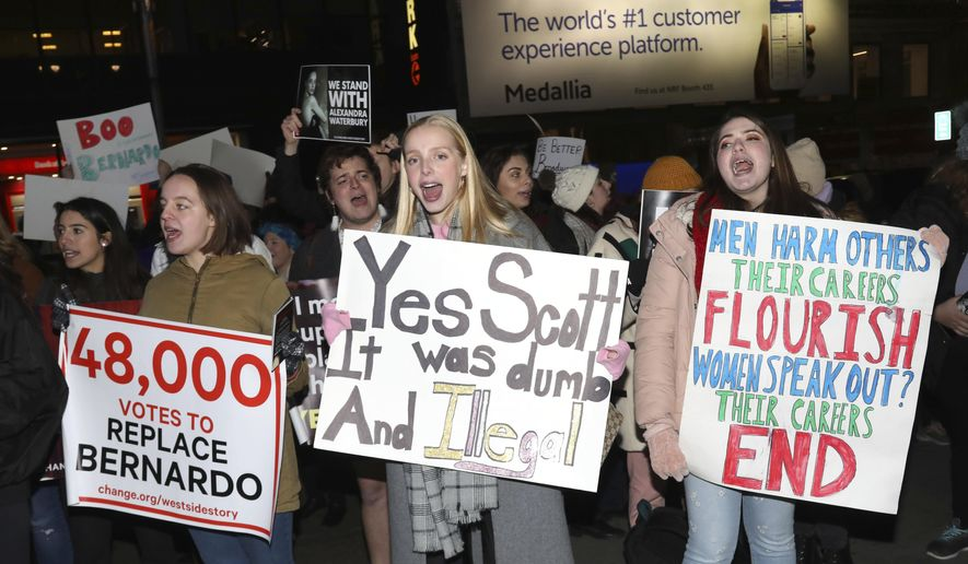 """Protesters demonstrate at the Broadway opening night of """"West Side Story"""" at The Broadway Theatre on Thursday, Feb. 20, 2020, in New York. (Photo by Greg Allen/Invision/AP)"""