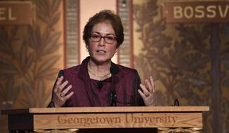 "Former U.S. Ambassador to Ukraine Marie Yovanovitch speaks at Georgetown University in Washington, Wednesday, Feb. 12, 2020. She was awarded the 2020 J. Raymond ""Jit"" Trainor Award for Excellence in the Conduct of Diplomacy. (AP Photo/Susan Walsh)"