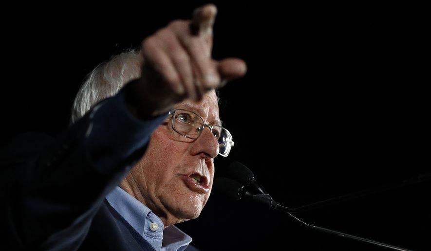 Democratic presidential candidate Sen. Bernie Sanders, I-Vt., speaks during a campaign event at Springs Preserve in Las Vegas, Friday, Feb. 21, 2020. (AP Photo/Patrick Semansky)