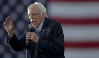 Democratic presidential candidate Sen. Bernie Sanders, I-Vt., speaks during a campaign event on Sunday, Feb. 23, 2020, in Austin, Texas. (Nick Wagner/Austin American-Statesman via AP)