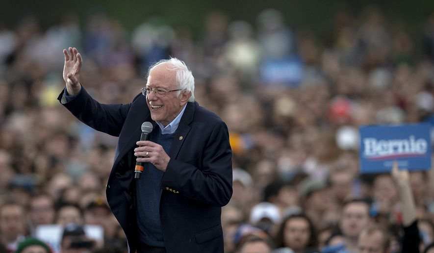 Democratic presidential candidate Sen. Bernie Sanders, I-Vt., smiles while the crowd chants his name during a campaign event on Sunday, Feb. 23, 2020, in Austin, Texas. (Nick Wagner/Austin American-Statesman via AP)
