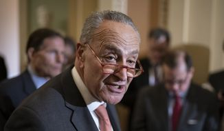 In this Feb. 11, 2020, file photo, Senate Minority Leader Chuck Schumer, D-N.Y., talks to reporters following a Democratic strategy meeting at the Capitol in Washington. (AP Photo/J. Scott Applewhite, File)
