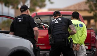 U.S. Immigration and Custom Enforcement officer makes an arrest. (Associated Press file photo)