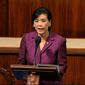 Rep. Judy Chu, D-Calif., speaks as the House of Representatives debates the articles of impeachment against President Donald Trump at the Capitol in Washington, Wednesday, Dec. 18, 2019. (House Television via AP)