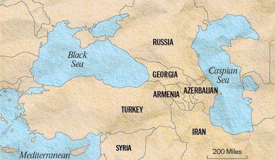 Black Sea Area Map/The Washington Times