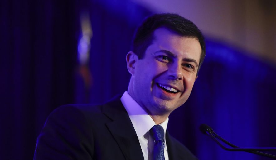 Democratic presidential candidate former South Bend, Ind., Mayor Pete Buttigieg speaks at the First in the South Dinner, Monday, Feb. 24, 2020, in Charleston, S.C. (AP Photo/Matt Rourke)