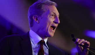 Democratic presidential candidate businessman Tom Steyer speaks at the First in the South Dinner, Monday, Feb. 24, 2020, in Charleston, S.C. (AP Photo/Matt Rourke)