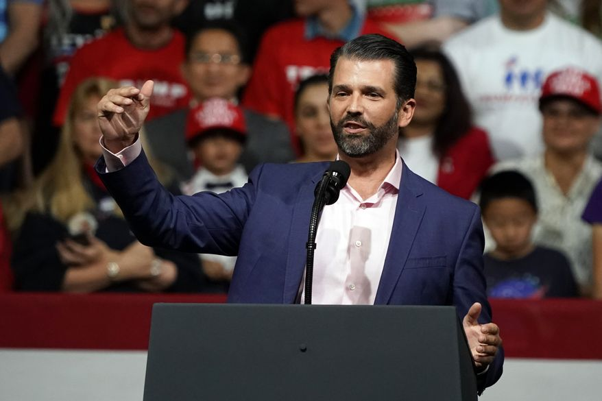 Donald Trump Jr. speaks at a rally before his dad and President Donald Trump appears in Phoenix. (AP Photo/Rick Scuteri,File)