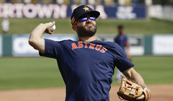 Houston Astros' Jose Altuve warms up before a spring training baseball game against the Detroit Tigers Monday, Feb. 24, 2020, in Lakeland, Fla. (AP Photo/Frank Franklin II) **FILE**