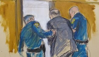 In this courtroom sketch, Harvey Weinstein, is led out of Manhattan Supreme Court by court officers after after a jury convicted him of rape and sexual assault, Monday, Feb. 24, 2020 in New York. The jury found him not guilty of the most serious charge, predatory sexual assault, which could have resulted in a life sentence.in New York. (Elizabeth Williams via AP)