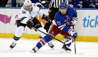 New York Rangers defenseman Tony DeAngelo (77) skates against San Jose Sharks left wing Patrick Marleau (12) during the first period of an NHL hockey game, Saturday, Feb. 22, 2020, at Madison Square Garden in New York. (AP Photo/Mary Altaffer)