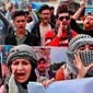 Demonstrators chant slogans during ongoing protests, in Tahrir Square, Baghdad, Iraq, Monday, Feb. 24, 2020. (AP Photo/Hadi Mizban)