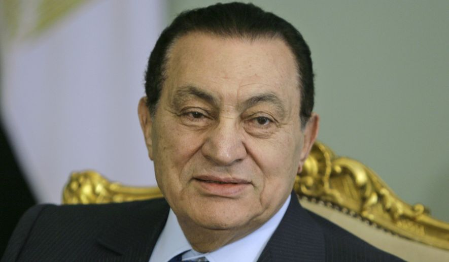 In this April 2, 2008, file photo, Egyptian President Hosni Mubarak looks attends a meeting at the Presidential palace, in Cairo, Egypt. Egypt state TV said Tuesday, Feb. 25, 2020. that the country's former President Hosni Mubarak, ousted in the 2011 uprising, has died at 91. (AP Photo/Amr Nabil, File)