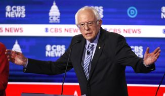Democratic presidential candidates Sen. Bernie Sanders, I-Vt., speaks during a Democratic presidential primary debate at the Gaillard Center, Tuesday, Feb. 25, 2020, in Charleston, S.C., co-hosted by CBS News and the Congressional Black Caucus Institute. (AP Photo/Patrick Semansky)