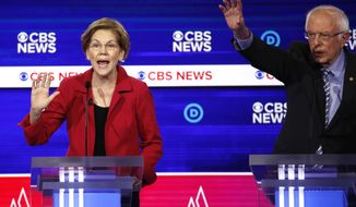 From left, Democratic presidential candidates, Sen. Elizabeth Warren, D-Mass., and Sen. Bernie Sanders, I-Vt., participate in a Democratic presidential primary debate at the Gaillard Center, Tuesday, Feb. 25, 2020, in Charleston, S.C., co-hosted by CBS News and the Congressional Black Caucus Institute. (AP Photo/Patrick Semansky)