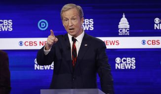 Democratic presidential candidate businessman Tom Steyer speaks during a Democratic presidential primary debate at the Gaillard Center, Tuesday, Feb. 25, 2020, in Charleston, S.C., co-hosted by CBS News and the Congressional Black Caucus Institute. (AP Photo/Patrick Semansky)
