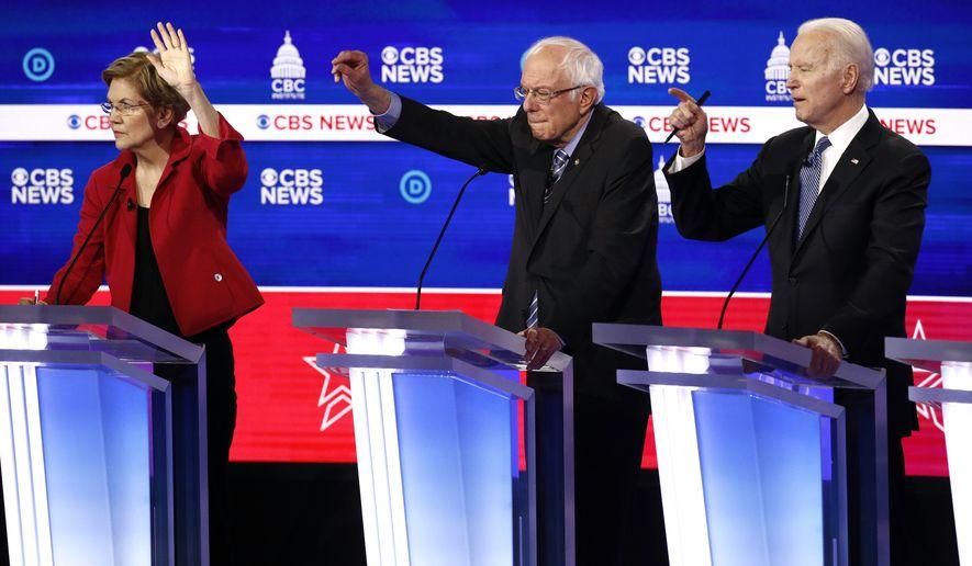 Elizabeth Warren, Bernie Sanders and Joe Biden are among the septuagenarian finalists in the Democratic presidential field. (Associated Press/File)