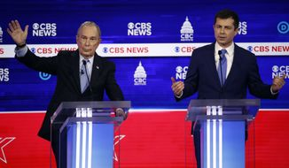 Democratic presidential candidates, former New York City Mayor Mike Bloomberg, and former South Bend Mayor Pete Buttigieg participate in a Democratic presidential primary debate at the Gaillard Center, Tuesday, Feb. 25, 2020, in Charleston, S.C., co-hosted by CBS News and the Congressional Black Caucus Institute. (AP Photo/Patrick Semansky)